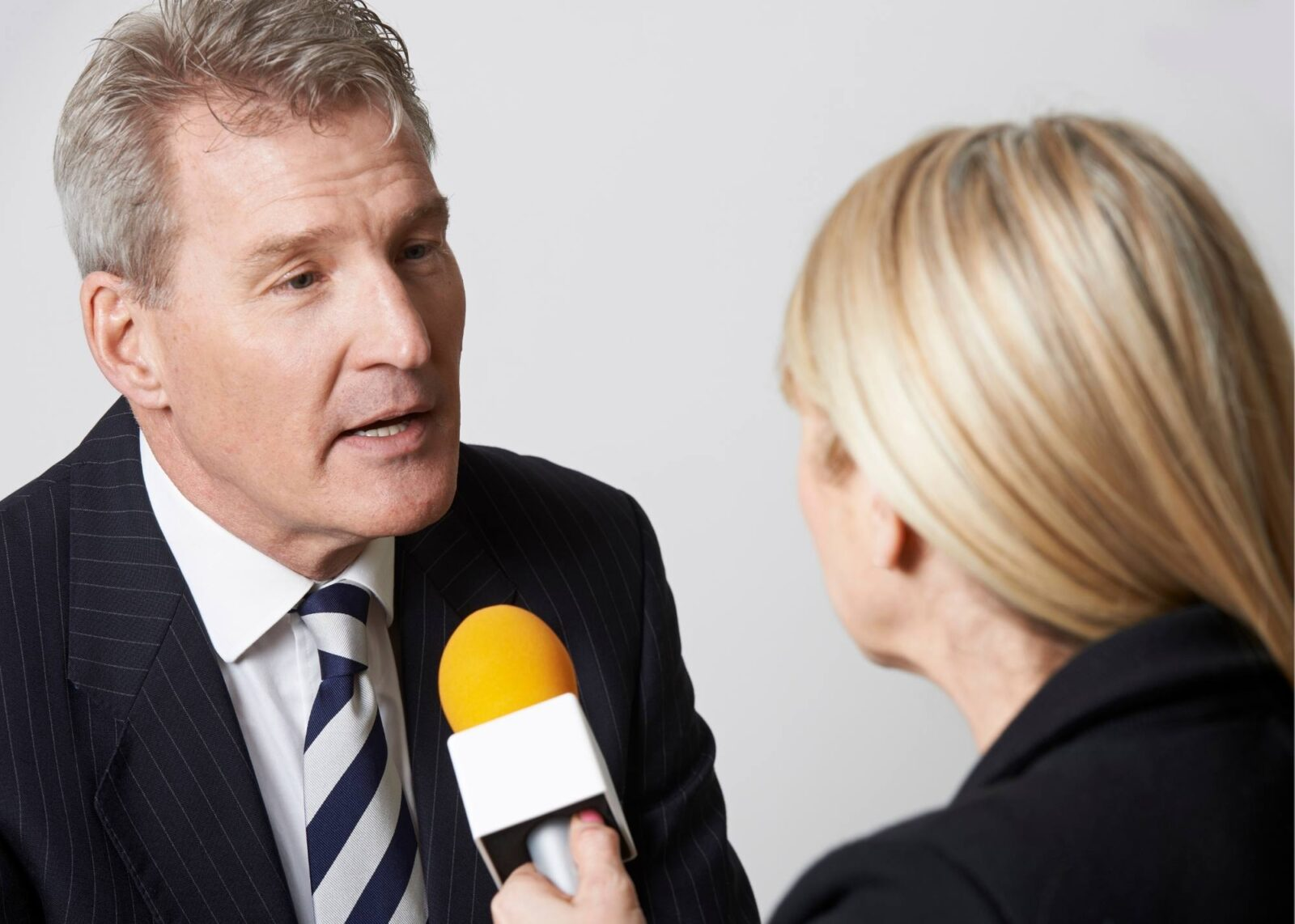 man being interviewed
